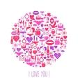 Valentines day mosaic icons circle card vector