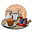 Cupcake candy and coffee with milk vector