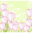 Pink tulips card vector