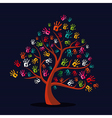 Colorful multi-ethnic hand prints tree vector