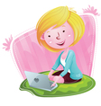 Blogger girl with laptop vector