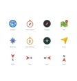 Compass and map colored icons on white background vector