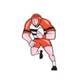 Rugby player running with rugby ball cartoon vector