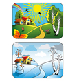 Winter and summer landscape vector