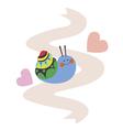 Lovely snail on pink ribbon vector