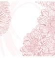 Line drawings pink chrysanthemum on white grunge vector