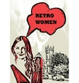Print of the retro female and street vector