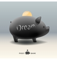 Piggy moneybox with golden coin - for dream vector