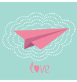 Origami paper plane and big cloud in the sky love vector