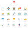 Set of full color seo and development icons set 1 vector