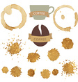 Coffee stains with symbols set vector