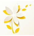Yellow paper flower greeting card template vector