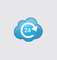 Blue cloud 24 hours service icon vector