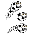 Flying cartooned soccer or football ball vector