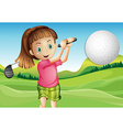 Girl playing golf vector