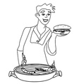 Man cooking on his barbecue - funny doodle vector