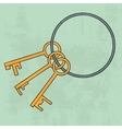 Old keys bunch icon vector