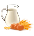 Glass jug with milk wheat seeds and eggs vector