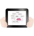 Hands holding tablet pc vector