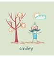 A man stands next to a tree on which grow smilies vector