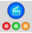 Cinema clapper sign icon video camera symbol set vector