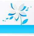 Blue paper flower greeting card template vector
