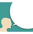Abstract speaker silhouette with big empty bubble vector