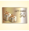 Abstract golden gift card with two boxes vector