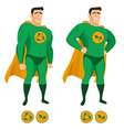Recycle superhero in green uniform with a cape vector