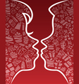 Valentine kissing couple silhouette vector