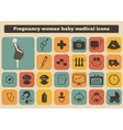 Set of medical woman pregnancy baby icons vector
