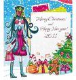 Christmas paper girl sale good vector