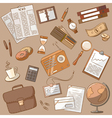 Cute doodle on the business theme vintage style vector