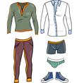 Men clothes objects cartoon set vector