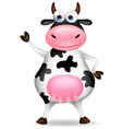 Funny cow waving vector