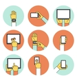 Hands holding touch screen devices icons vector