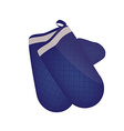 Blue kitchen mittens vector
