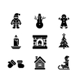 Black christmas icons on white background vector