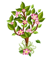 Flower tree with glossy leaves vector