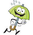 Cartoon umbrella running vector