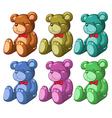 Six bears vector