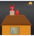 Santa claus on the roof vector