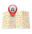City map with label pin vector