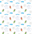 Seamless wallpaper children drawings of the sun vector