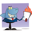 Shark businessman holding a flaming bad contract vector