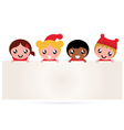 Cute multicultural christmas kids banner vector