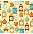 Seamless retro pattern with watches in flat style vector
