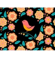 Flower invitation card with bird singing and vector