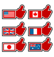 Thumbs up icons representing world flags vector