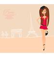 Beautiful fashion women shopping in paris card vector
